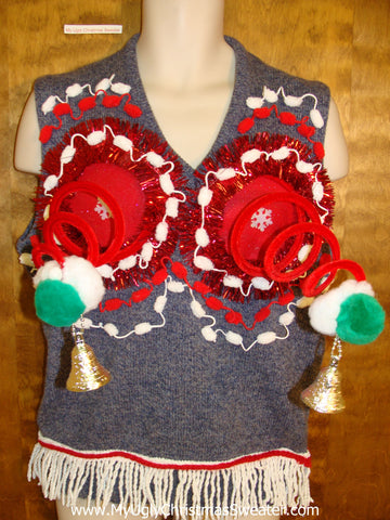 Mens Funny 3D Ugly Xmas Sweater Vest with Fringe