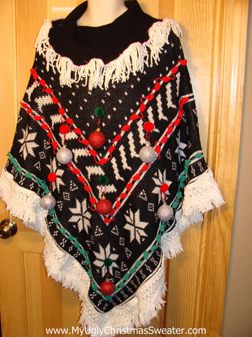 Ugly Christmas Sweater Party Holy Grail of Ugly Sweater Poncho with 3D Ornaments and Fringe. Great Sweater Alternative for Mens XL, XXL or Mens XXXL  (z15)