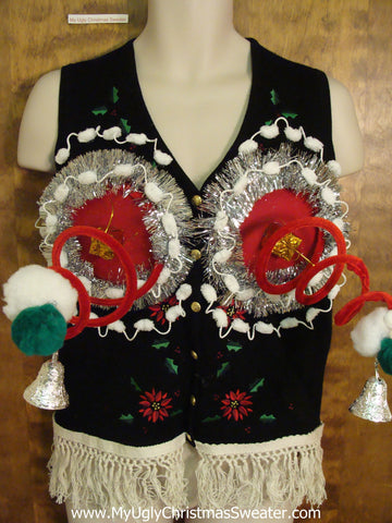 Funny 3D Ugly Xmas Sweater Vest with Springy Boobs