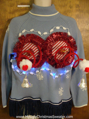 Light Up Funny 3D Naughty Ugly Xmas Sweater