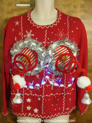 Light Up Funny 3D Springy Boobs Ugly Xmas Sweater