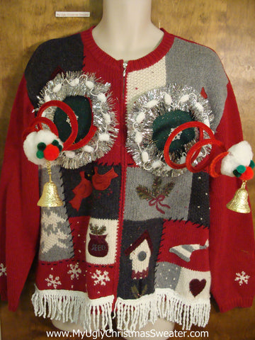 Fancy Patchwork Naughty Ugly Christmas Sweater with Funny Boobs