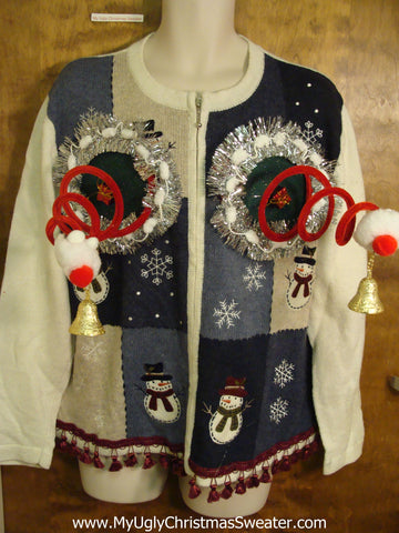 Crazy Tassle Trim Naughty Ugly Christmas Sweater