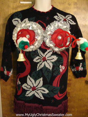 Crazy 80s Naughty Ugly Christmas Sweater with Horrible Poinsettias