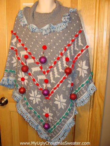 Ugly Christmas Sweater Party Holy Grail of Ugly Sweater Poncho with 3D Ornaments and Fringe. Great Sweater Alternative for Mens XL, XXL or Mens XXXL  (z16)