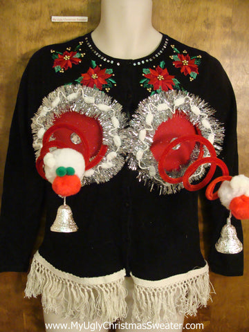 Crazy Red Poinsettias Naughty Ugly Christmas Sweater