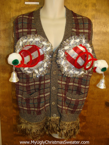 Mens Plaid Naughty Ugly Christmas Sweater with Funny Boobs
