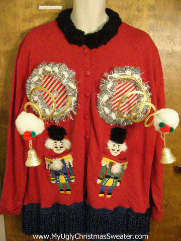 Nutcracker Twins Naughty Ugly Christmas Sweater with Funny Boobs