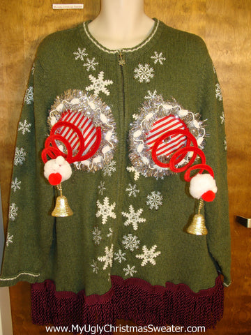Green Naughty Ugly Christmas Sweater with Snowflakes XXXL