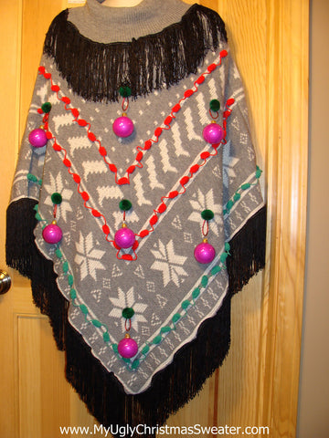 Ugly Christmas Sweater Party Holy Grail of Ugly Sweater Poncho with 3D Ornaments and Fringe. Great Sweater Alternative for Mens XL, XXL or Mens XXXL  (z17)