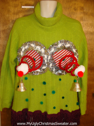 Lime Green Crazy Naughty Ugly Christmas Sweater with Pompoms