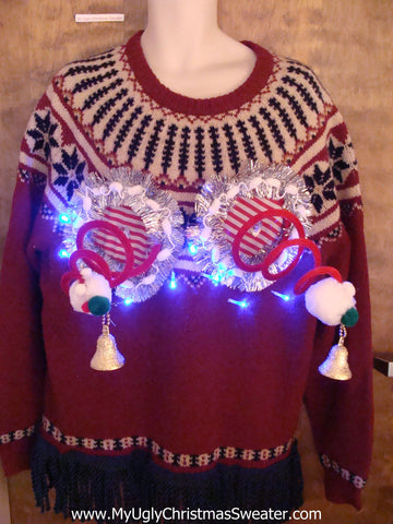 Nordic 2sided Crazy Naughty Ugly Christmas Sweater with Lights