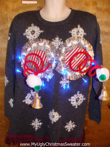 Crazy 80s Snowflake Themed Naughty Ugly Christmas Sweater ...