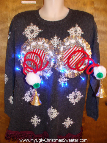 Crazy 80s Snowflake Themed Naughty Ugly Christmas Sweater with Lights