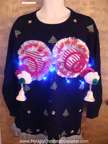 Holiday Tree Themed Ugly Christmas Sweater with Lights