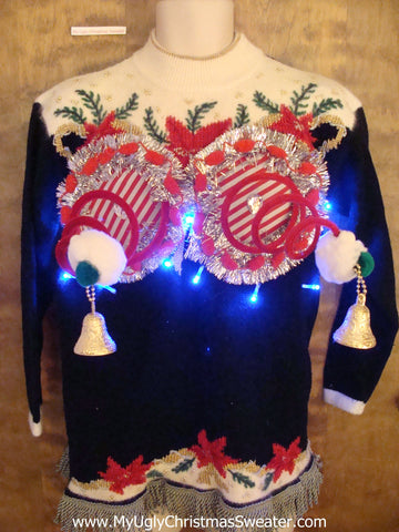 Corny Festive Naughty Ugly Christmas Sweater with Bright Lights