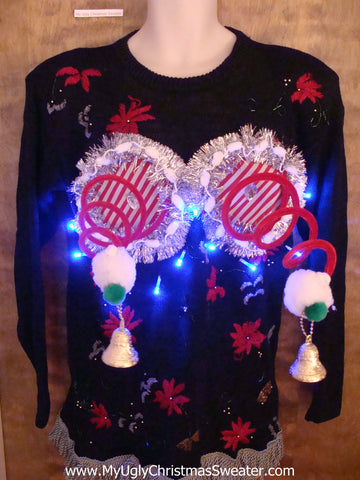 Retro 80s Poinsettias Naughty Ugly Christmas Sweater with Lights