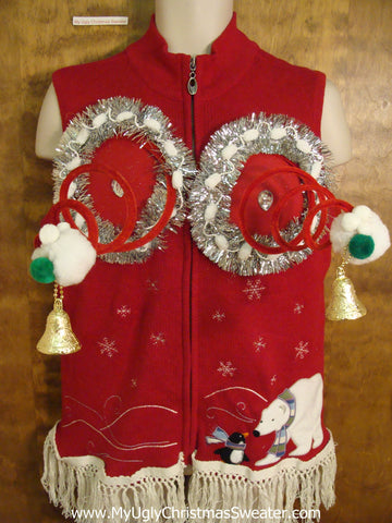 Polar Bear and Penguin Naughty Ugly Christmas Sweater Vest