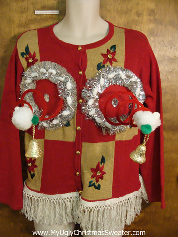 Gold and Red Blocks Naughty Ugly Christmas Sweater