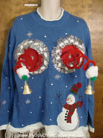 Bright Blue Naughty Ugly Christmas Sweater with Snowman