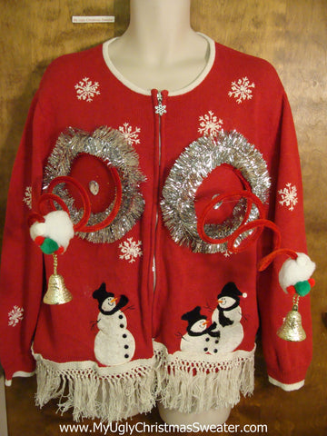 Snowmen Friends Red Naughty Ugly Christmas Sweater