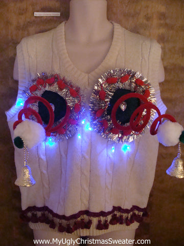 Light Up Crazy Naughty Ugly Christmas Sweater Vest