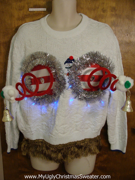 snowman pullover naughty ugly christmas sweater with funny boobies - Christmas Boobies