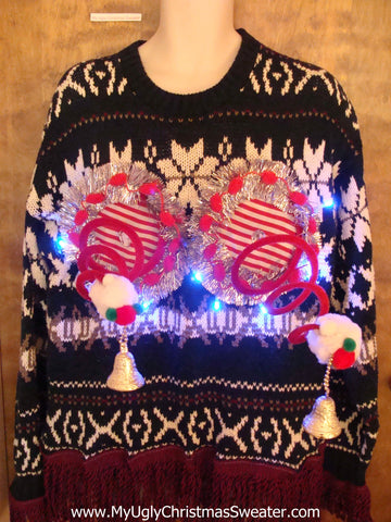 Fringe on the Sleeves Naughty Ugly Christmas Sweater