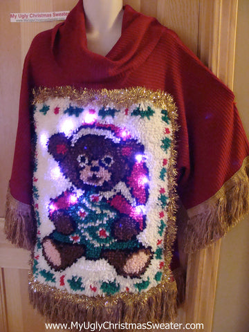 Ugly Christmas Sweater Party Holy Grail of Ugly Sweater with Lights. 3D Santa Bear Hook Rug with Garland Trim. Massive Dangling Fringe. Super Wide Sleeves  (z1)