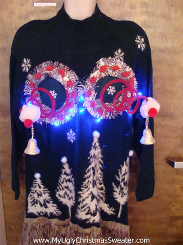 Light Up Ugly Christmas Jumper Naughty Sweater with Funny Boobs