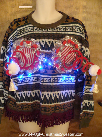 Funny Gift Light Up Ugly Christmas Jumper Naughty Sweater