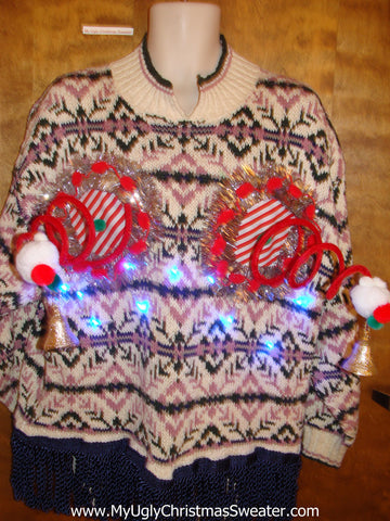 Horrible 2sided Light Up Ugly Christmas Naughty Sweater
