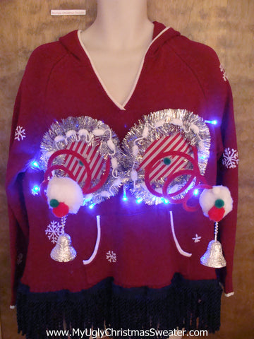 Funny Gift Light Up Red Ugly Christmas Naughty Sweater Hoddie