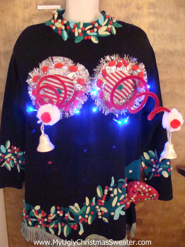 Best 80s Light Up Ugly Christmas Jumper Naughty Sweater