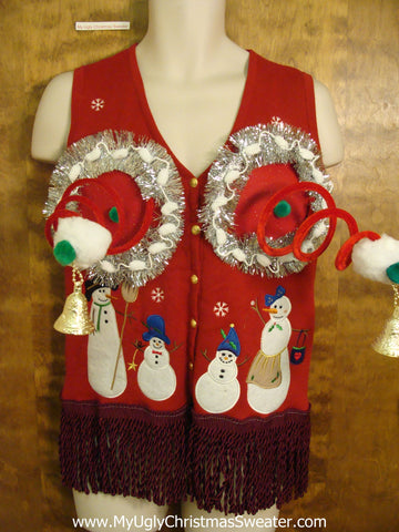 Snowman Family Ugly Christmas Jumper Vest Naughty Sweater