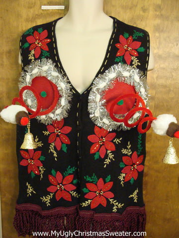 Horrible Poinsettias Ugly Christmas Jumper Vest Naughty Sweater
