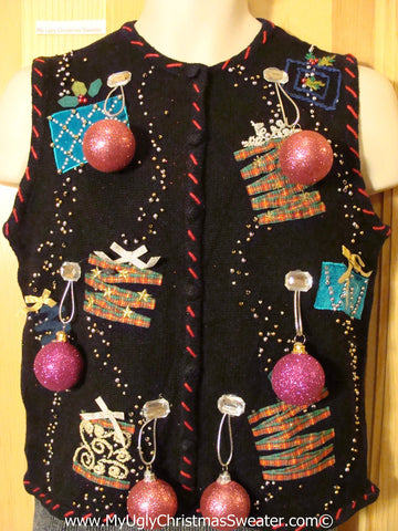 Ugly Christmas Sweater Party Holy Grail of Ugly Sweater Vest with 3D Ornaments and Bling Gifts (z20)