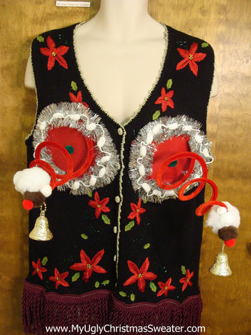 Corny Poinsettias Ugly Christmas Jumper Vest Naughty Sweater