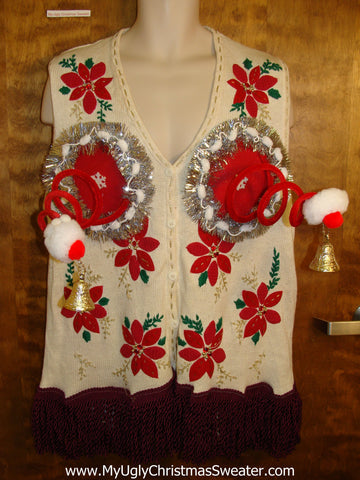 Bouncy Funny Naughty Sweater with Horrible Poinsettias