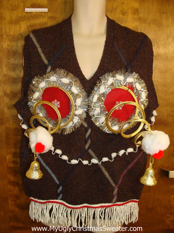 Mens Christmas Sweater Vest with Funny Naughty Theme