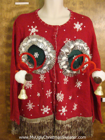 Fembot Red Ugly Christmas Naughty Sweater Cardigan