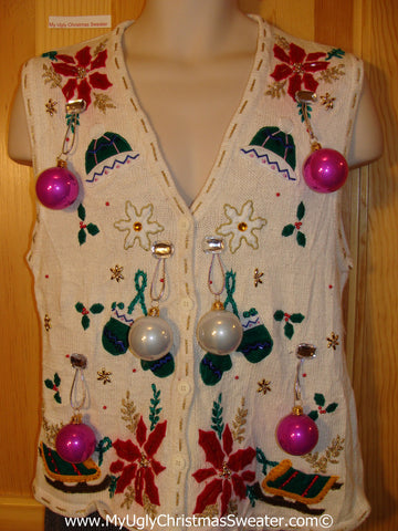 Ugly Christmas Sweater Party Holy Grail of Ugly Sweater Vest with 3D Ornaments and Bling Poinsettias and Sleds (z21)