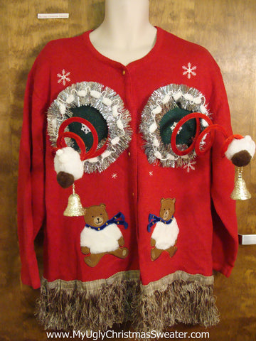 Fembot and Teddy Bears Ugly Christmas Sweater Cardigan