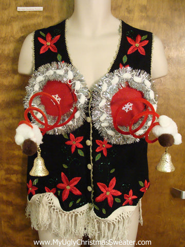 Funny Ugly Christmas Naughty Sweater Vest with Poinsettias