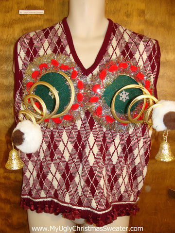 Diamond Grid Mens Ugly Christmas Naughty Sweater Vest