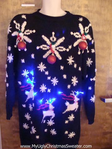 Best Flying Reindeer 80s 3D Sweater Dress with Lights