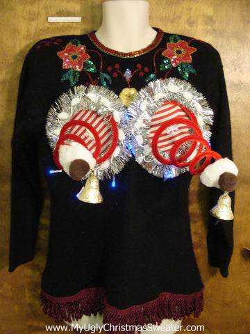 Funny Gift Idea 80s Ugly Christmas Sweater with Lights