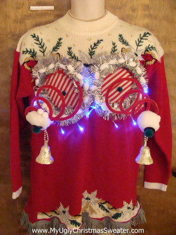 Red and Green Ugly Christmas Naughty Sweater with Lights