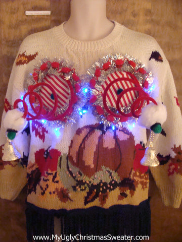 Halloween and Christmas Naughty Sweater with Lights