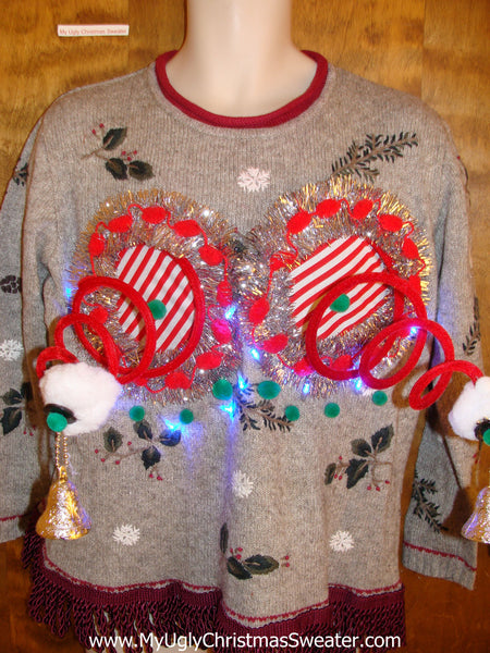 Crazy Tacky Christmas Naughty Sweater With Lights